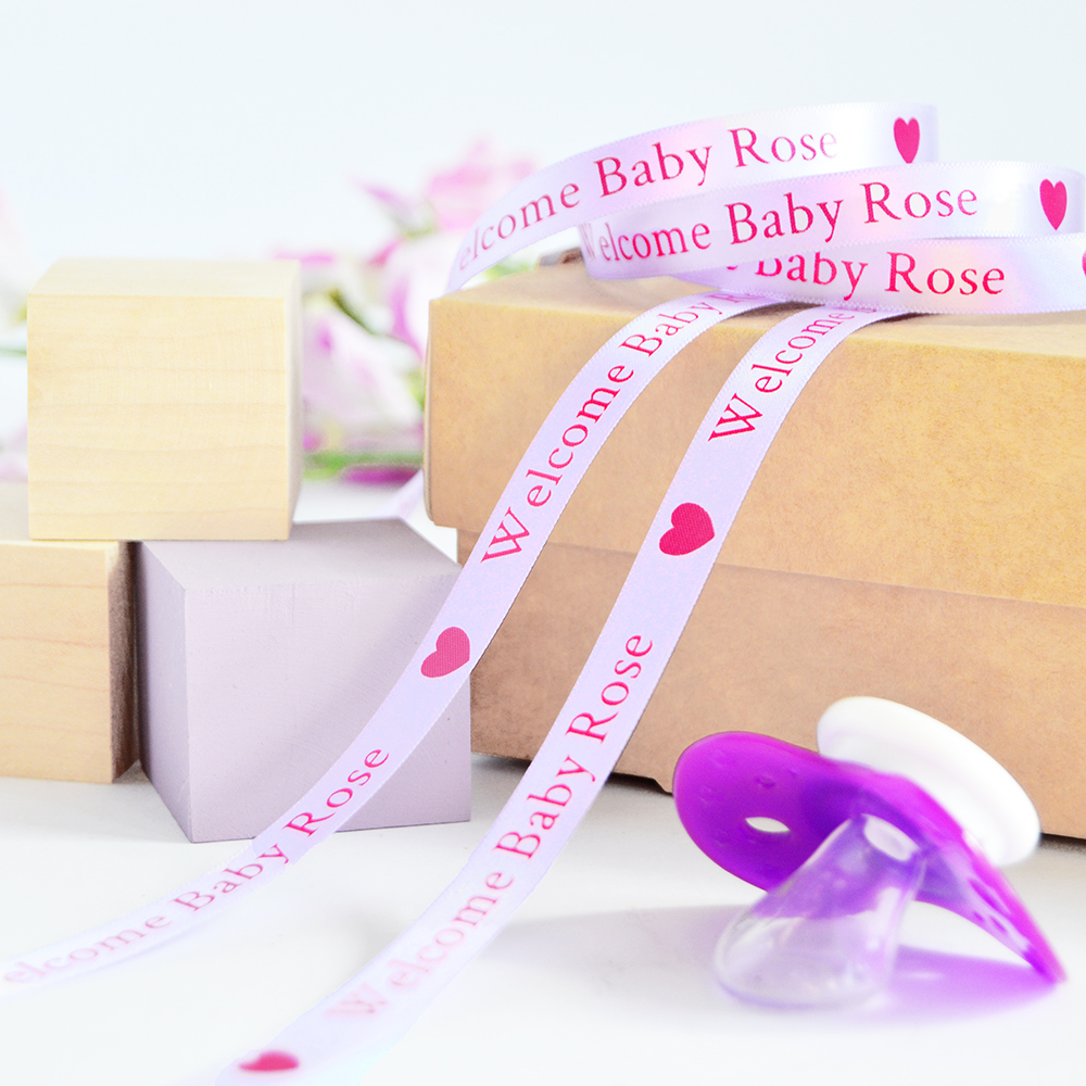 Personalised Ribbon For New Born Christening Baby Shower Birthday Blue Pink