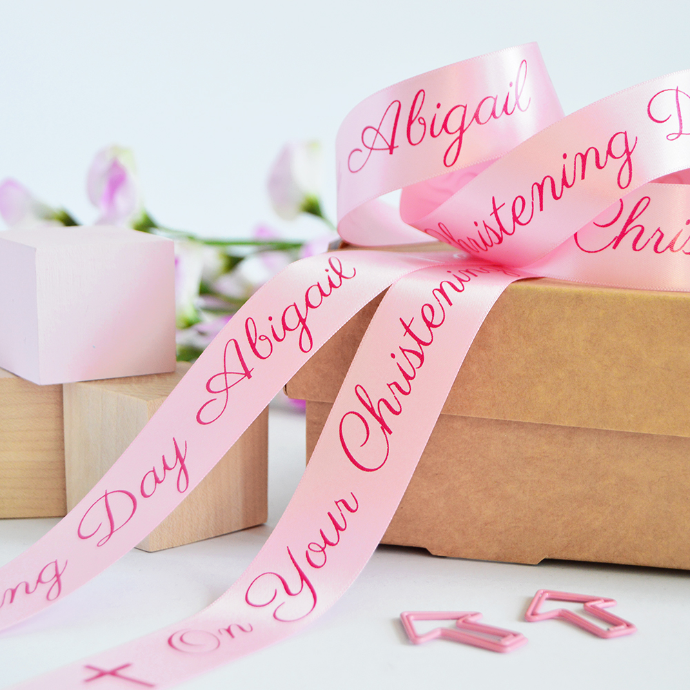 25mm Personalised Christening Ribbon - The Ribbon Co