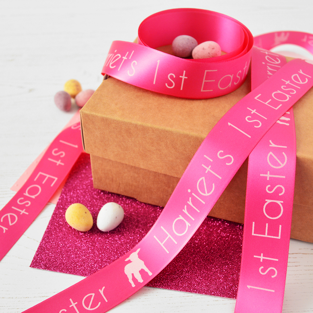 25mm Personalised Easter Ribbon - The Ribbon Co