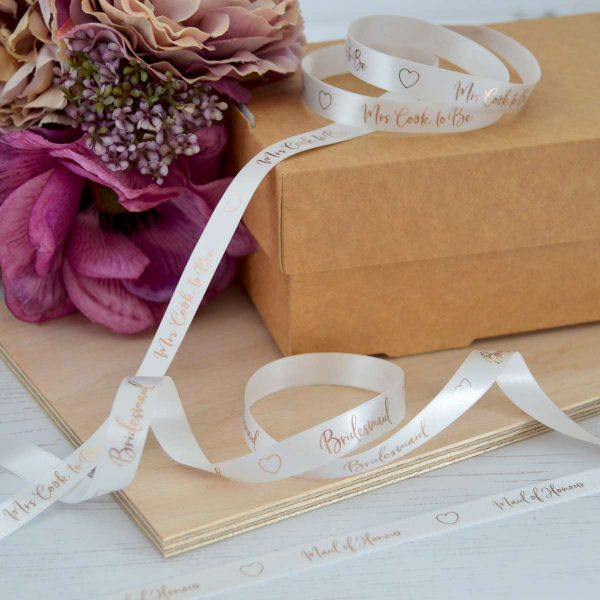 10mm bridal white personalised hen party ribbon with metallic rose gold print