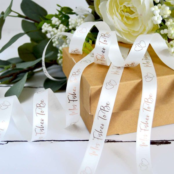 15mm bridal white personalised hen party ribbon with metallic rose gold print