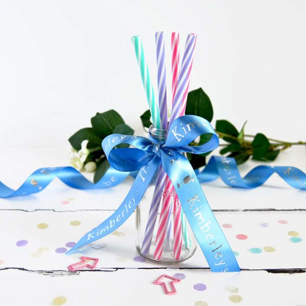 25mm cornflower blue personalised hen party ribbon with metallic silver print